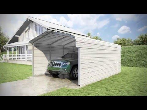 Versatube 2 Sided 12x20x7 Classic Steel Carport Kit Youtube