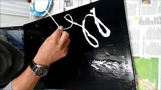 Pintura abstrata acrilica fluido preto e branco