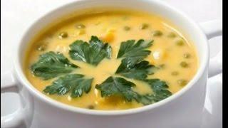 Нежный Сырный суп. С зеленым горошком