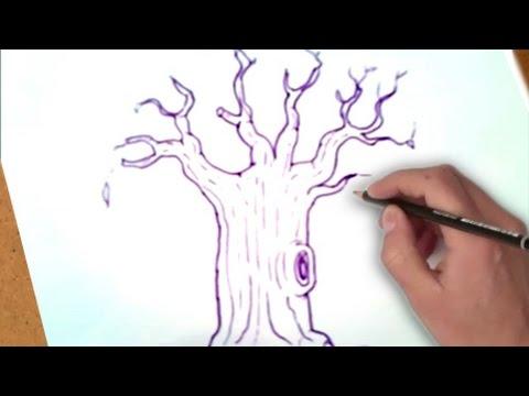 كيفية رسم شجرة دون أوراق Youtube