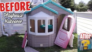 DIY Playhouse Makeover BEFORE and AFTER