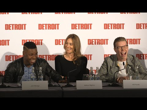 Will Poulter, John Boyega Detroit Press Conference with Kathryn Bigelow