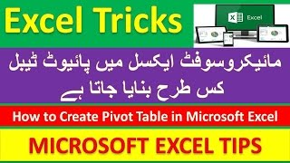 How to create Pivot Table in Microsoft Excel [Urdu / Hindi]