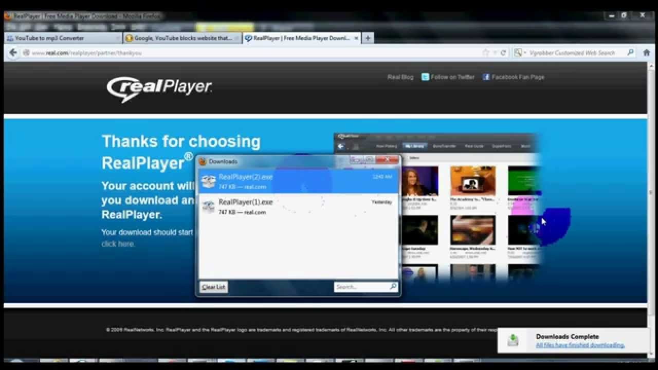 real player youtube video downloader free software