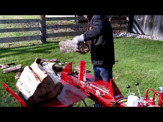 Split-Fire 3265 2-way log splitter put to work on a large round