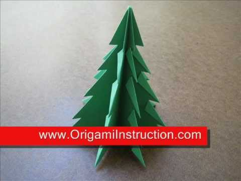 Step by step instructions how to make origami a christmas tree.