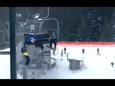 Dad Catches Son Falling From Ski Lift
