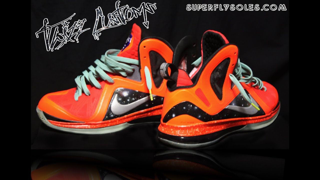 36d1a73ab450 Nike Lebron 9 Eilte Galaxy Customs - YouTube