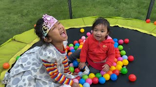 Ishfi's Playtime with Ball pit in Trampoline