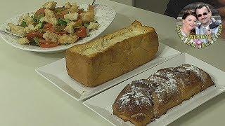 Вкусный завтрак за 30 мин. Салат, блюдо и десерт, из одной  буханки хлеба.