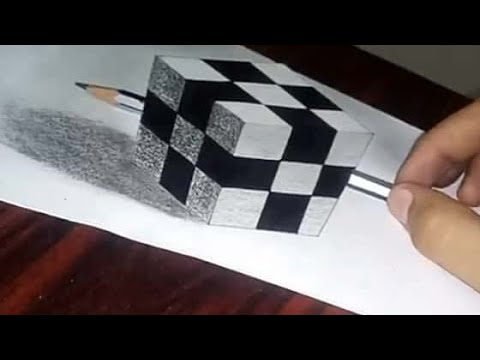 Floating Rubik's cube :- 3D trick art on paper