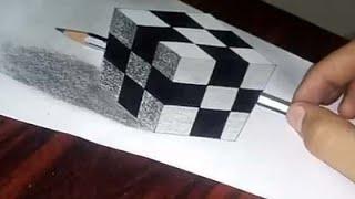 Floating Rubik's cube :- 3D trick art on paper