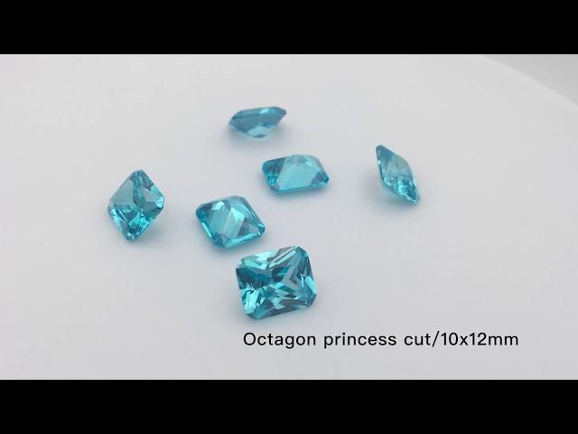 Aquamarine Blue Color Cubic Zirconia Octagon Princess Cut CZ Gemstones