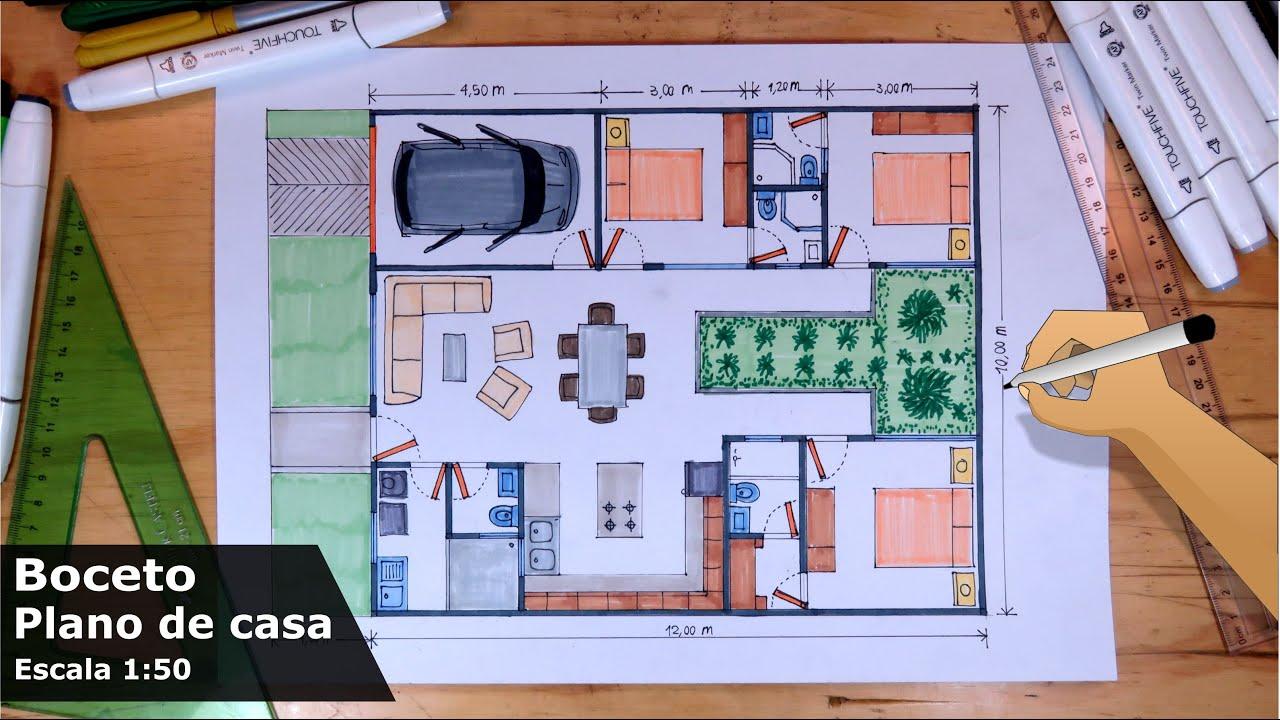 Dibuja Planos de Casas 1/5 - Casa de 1 piso 10m x 12m Escala 1:50