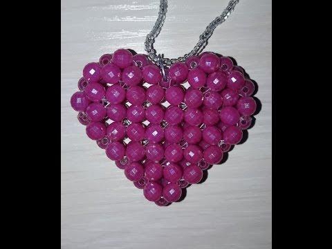 Кулон из бусин Сердечко/Pendant from beads Heart. Мастер класс!
