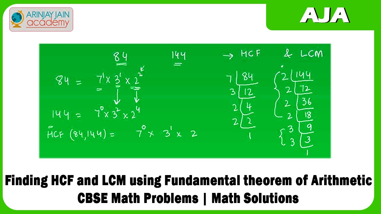 Finding HCF and LCM using Fundamental theorem of Arithmetic | CBSE ...