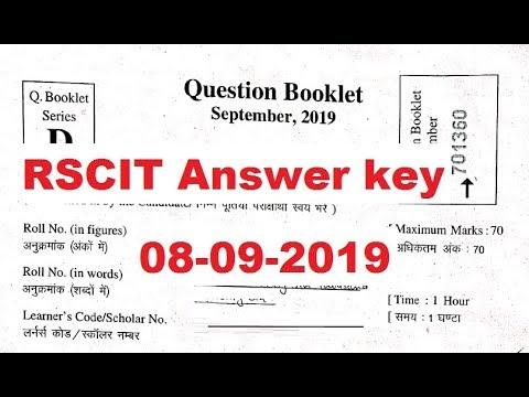 RKCL RSCIT Answer Key 08 September 2019 Set A B C D Answer Key