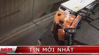 Xe Container lật trong hầm chui ngã tư Vũng Tàu, giao thông ùn ứ