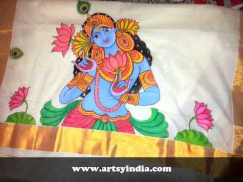 Kerala sarees mural paintings custom work by artsy india for Buy kerala mural paintings online