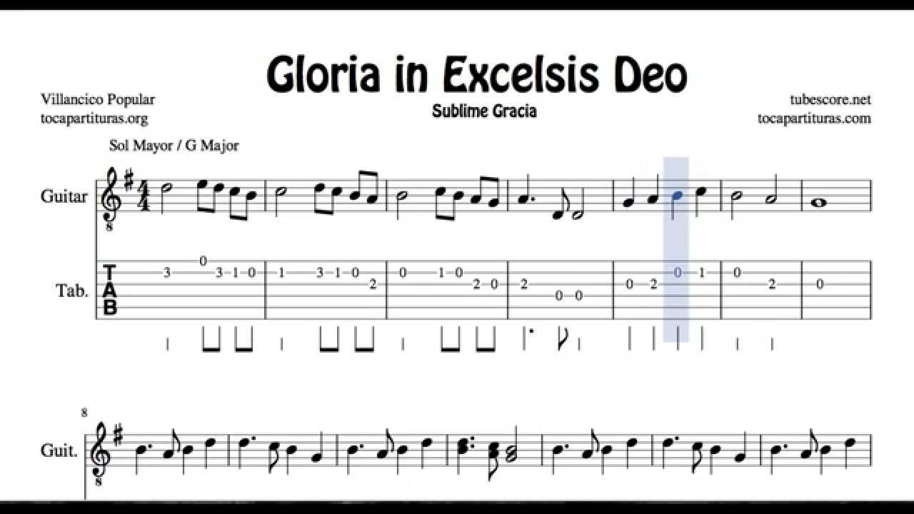 Gloria In Excelsis Deo Tab Sheet Music For Guitar G Major Christmas