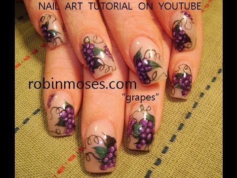 Nail art grapes grape nails design tutorial youtube prinsesfo Image collections