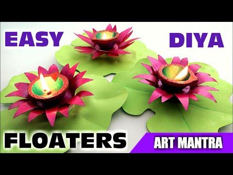 Lily diya floaters   Diya decoration ideas   Diya stand making   Diwali decoration ideas   Diy diya