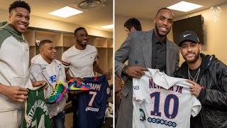 All-Access: Neymar and Mbappe Visit The Bucks In Paris | Exclusive Locker Room Footage | NBA Paris