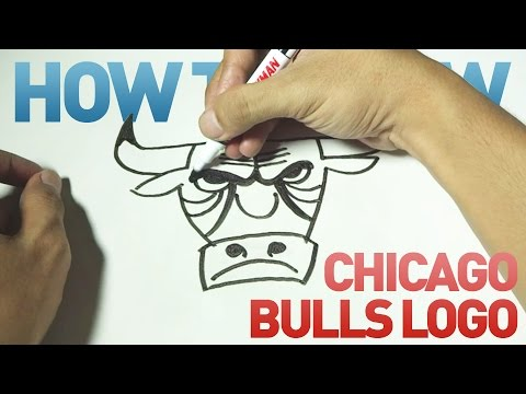 How to Draw a Cartoon - Chicago Bulls Logo (Tutorial Step by Step)