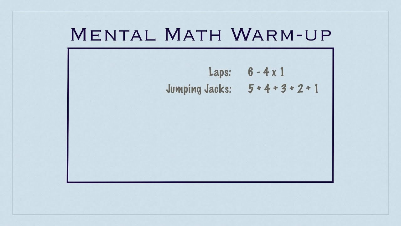 PE games - Mental Math Warm-up - YouTube