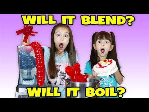 Giant Gummy Worm Candy! Will it Blend or Will it Boil? Funny and Gross Gummy Edition Challenge