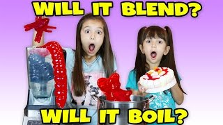 Giant Gummy Worm Candy! Will it Blend or Will it Boil? Funny and Weird Gummy Edition Challenge