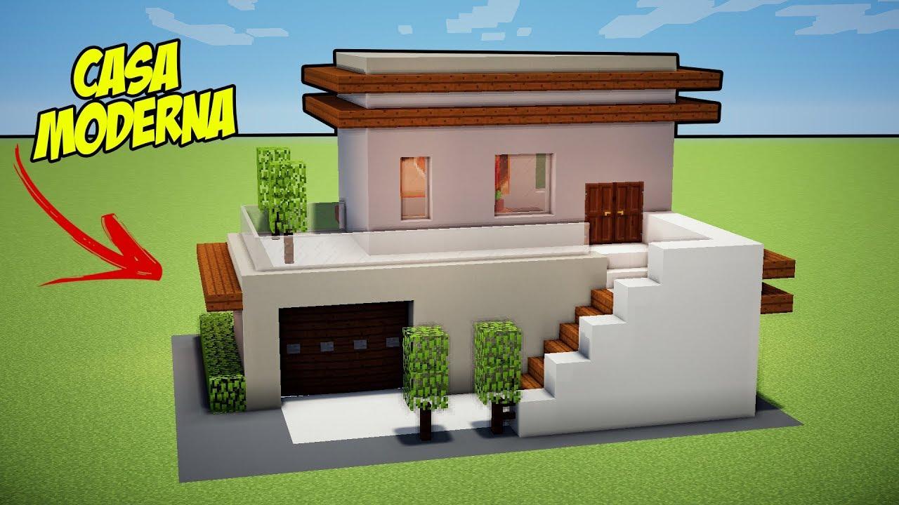 Minecraft tutorial casa moderna bonita e f cil manyz o for Casa moderna minecraft mirote y blancana