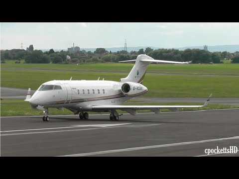 Bombardier Challenger 300 G-VCAN - Landing and Powerful Take off - Gloucestershire Airport
