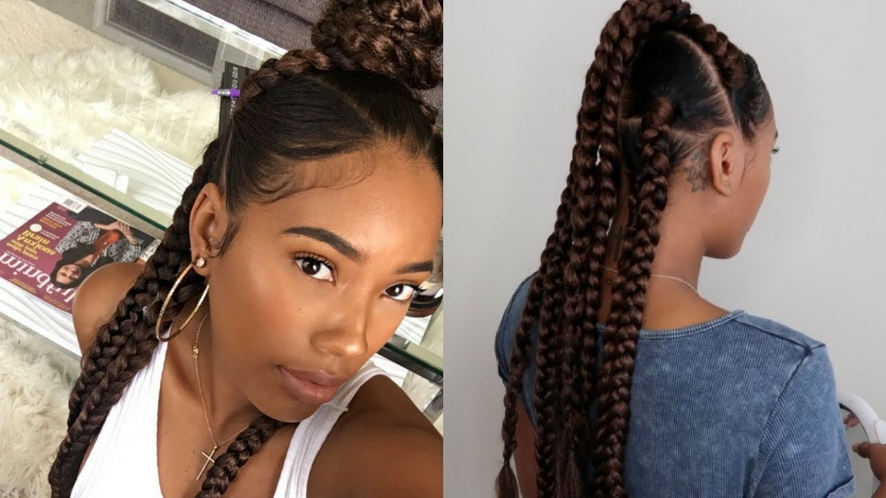 easy summer protective style: 7 braids using lovelyb's edge control