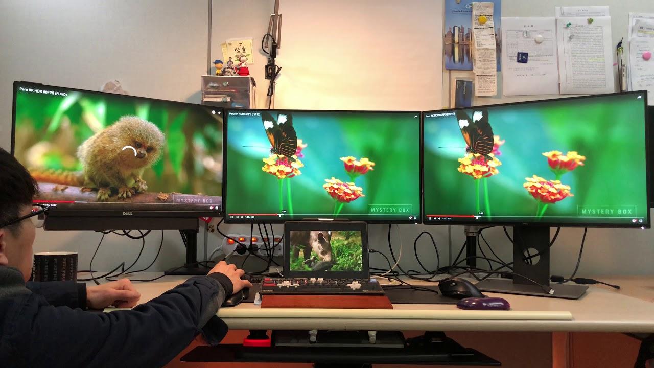 Intel HD 630 and Dual 4K (UHD) monitors (U2718Q) and One QHD (UP2516D)