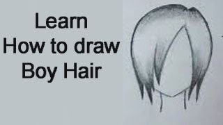 How to draw Boy Hair Manga Style - Real Time