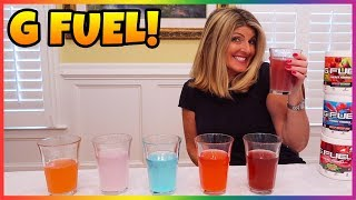 """MAKING MY MOM TRY NEW """"G-FUEL"""" ENERGY DRINK PART 2! (G-Fuel Taste Test w/ MY MOM)"""