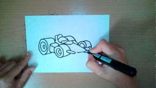Как нарисовать гоночную машину - How to draw a racing car  - 如何画一辆赛车
