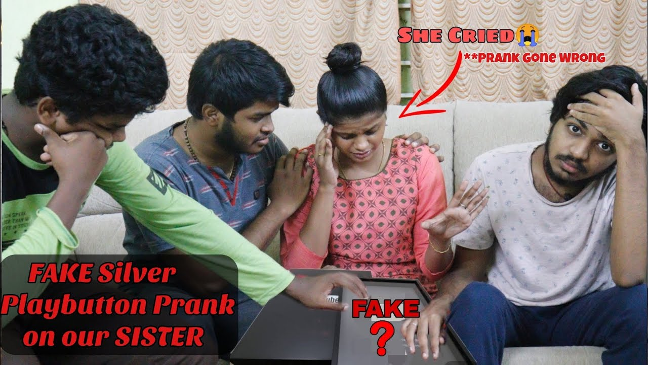 FAKE Silver Play button PRANK on our SISTER|*Prank gone wrong*|She cried*?[TAMIL]