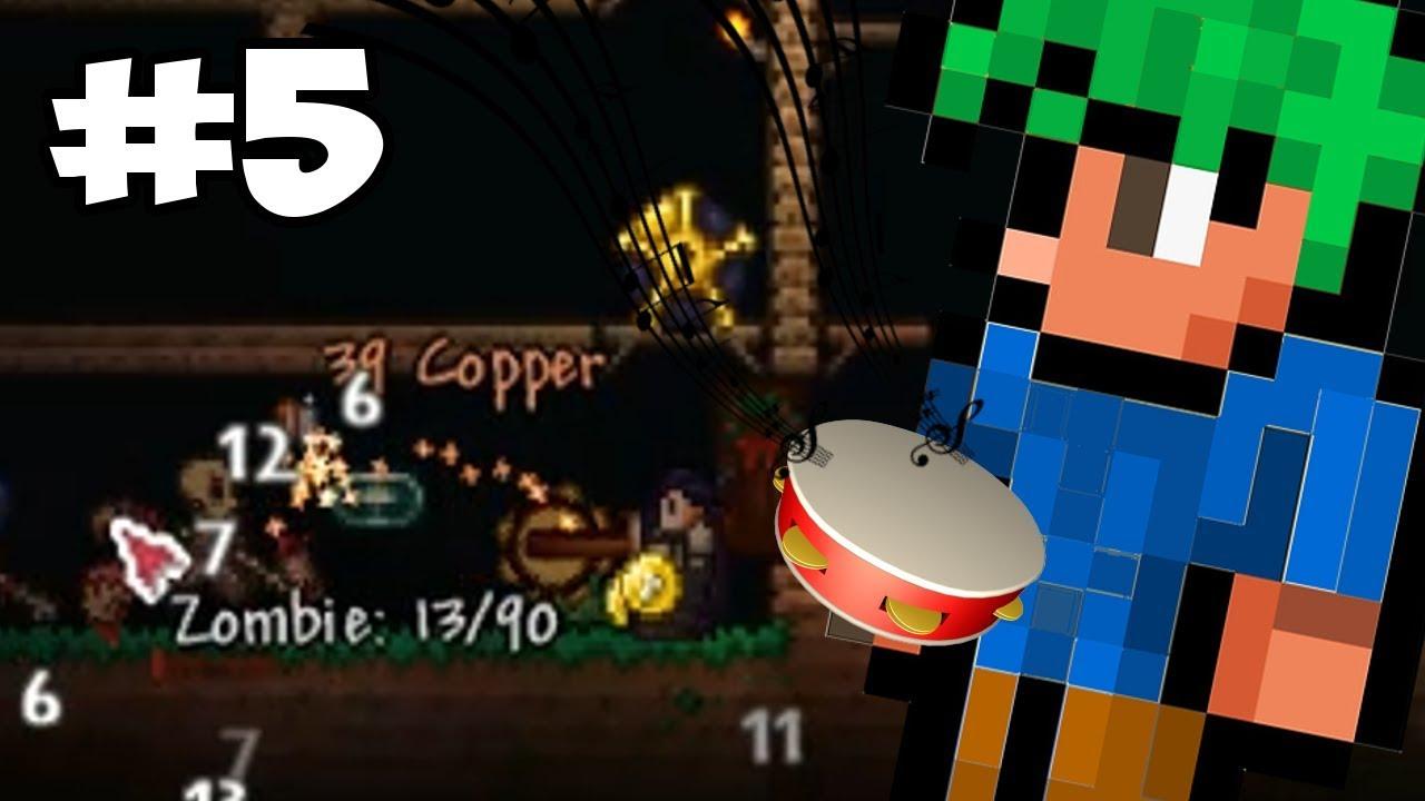 Terraria Bard Class Let's Play - Tambourine Zombies! | Terraria Gameplay /  Thorium Mod
