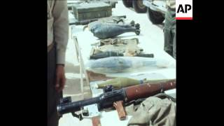 SYND 22 6 76  DISPLAY OF CAPTURED POLISARIO FRONT ARMS IN NOUAKCHOTT