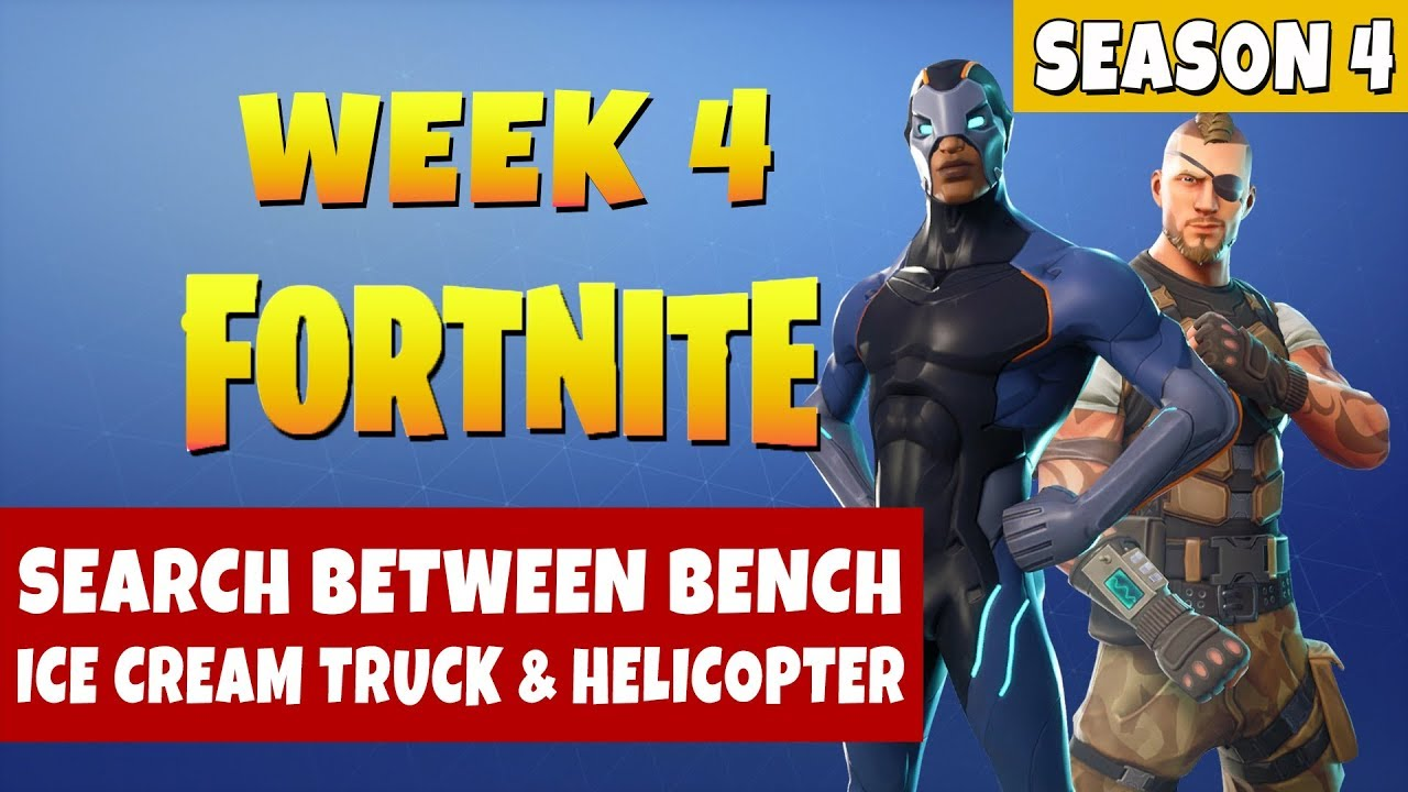 Fortnite Search Between A Bench, Ice Cream Truck, And A