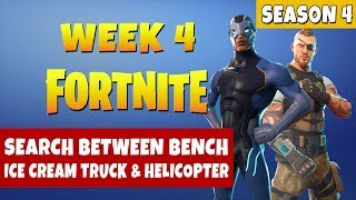 Fortnite Search Between a Bench, Ice Cream Truck, and a Helicopter (Season 4 Week 4 Challenges)