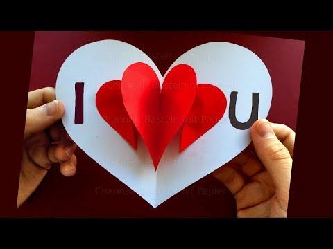 Basteln mit Papier ❤ Pop Up Karten selber machen: Herz - Bastellideen Geschenk