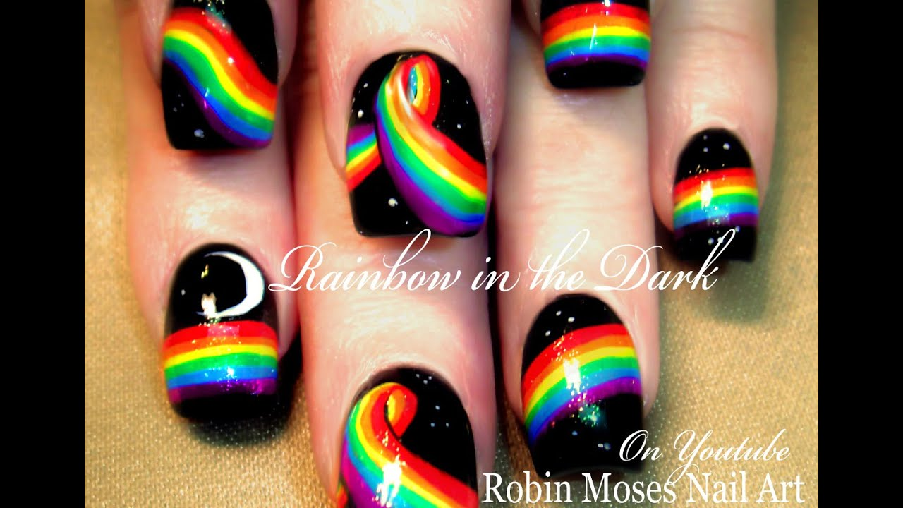 Rainbow in the Dark Nail Art Design Tutorial | DIY Easy and Fun ...