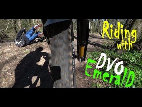 DVO Emerald in action, best downhill fork training on city park mtb trails. From rider to riders