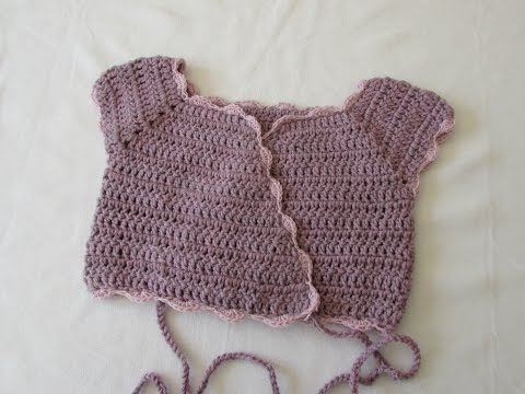 How to crochet a girl's crossover ballet cardigan