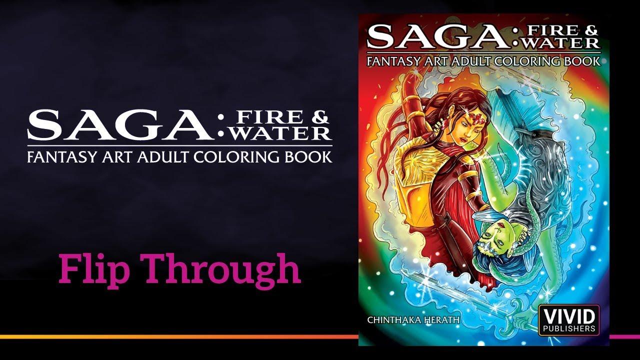 Saga: Fire & Water - Fantasy Art Adult Coloring Book Flip Through Video
