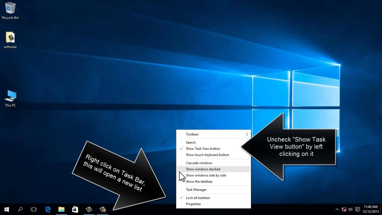 How To Remove Task View Button From Windows 10 - YouTube