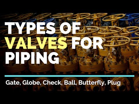 Types of Valves For Piping in Oil & Gas - Gate, Globe, Check, Ball, Butterfly, Plug